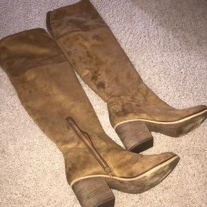 Brown over the knee suede boots